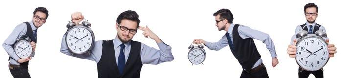 Το κολάζ του επιχειρηματία με το ρολόι στο λευκό στοκ φωτογραφίες