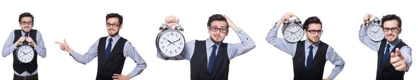 Το κολάζ του επιχειρηματία με το ρολόι στο λευκό στοκ εικόνες με δικαίωμα ελεύθερης χρήσης
