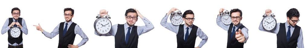 Το κολάζ του επιχειρηματία με το ρολόι στο λευκό στοκ φωτογραφίες με δικαίωμα ελεύθερης χρήσης