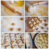 Το κολάζ του μαγειρέματος των ζυμαρικών, μπουλέττες, έβρασε Ð ³ Ñ ` Ð'Ð στον ατμό·Ð° μαγείρεμα Στοκ Φωτογραφία