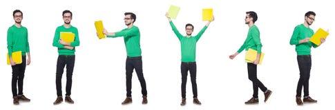 Το κολάζ του σπουδαστή με τα βιβλία στο λευκό Στοκ Φωτογραφία