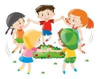 Το κράτημα παιδιών παραδίδει τον κύκλο απεικόνιση αποθεμάτων