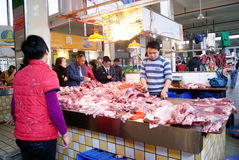 το κρέας αγοράς της Κίνας Στοκ Φωτογραφία