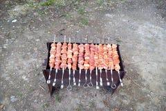 Το κρέας είναι τηγανισμένο στα οβελίδια στους άνθρακες σε έναν ορειχαλκουργό στοκ φωτογραφίες με δικαίωμα ελεύθερης χρήσης