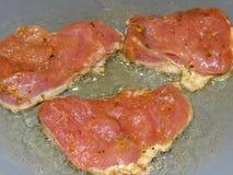 Το κρέας είναι τηγανισμένο Στοκ Φωτογραφία