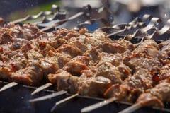 Το κρέας στα οβελίδια Στοκ Φωτογραφίες