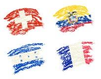 Το κραγιόνι σύρει του ποδοσφαίρου Παγκόσμιου Κυπέλλου ομάδας Ε 2014 σημαίες χωρών διανυσματική απεικόνιση