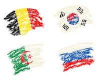 Το κραγιόνι σύρει του ποδοσφαίρου Παγκόσμιου Κυπέλλου ομάδας Χ 2014 σημαίες χωρών ελεύθερη απεικόνιση δικαιώματος