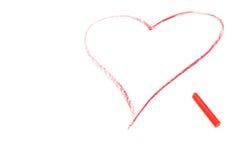 το κραγιόνι σύρει το κόκκινο καρδιών Απεικόνιση αποθεμάτων