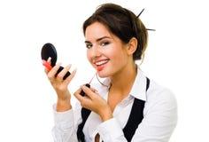 το κραγιόν κάνει makeup τη γυναί&ka Στοκ Εικόνες