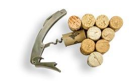Το κρασί βουλώνει, μαχαίρι σερβιτόρων ` s, άσπρο υπόβαθρο Στοκ Φωτογραφία
