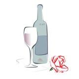 Το κρασί και αυξήθηκε Στοκ Εικόνες