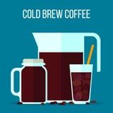 Το κρύο παρασκευάζει τον καφέ διανυσματική απεικόνιση