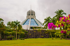 Το κτήριο είναι ένα μουσείο των γατών Κόκκινα ρόδινα λουλούδια Kuching, Μπόρνεο, Sarawak, Μαλαισία Στοκ Φωτογραφία