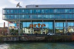 Το κτήριο ARTE, StrasbourgARTE, TV, δίκτυο, κτήριο, Στρασβούργο, Γαλλία, γαλλικά, γερμανικά, γαλλογερμανικά, αρχιτεκτονική, σύγχρ Στοκ εικόνα με δικαίωμα ελεύθερης χρήσης