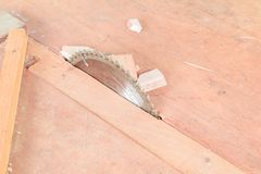 Το κυκλικό πριόνι έκοψε το ξύλο στον πίνακα με το διάστημα αντιγράφων προσθέτει το κείμενο Στοκ Φωτογραφία
