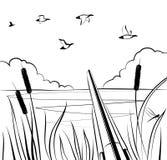 Το κυνήγι παπιών με το α διπλός-το κυνηγετικό όπλο στη λίμνη Στοκ Φωτογραφία