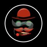 Το κόκκινα καπέλο και το Mustache Στοκ Εικόνες