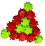 Το κόκκινος-πράσινο τρίγωνο του μωσαϊκού Στοκ Εικόνα