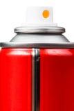 Το κόκκινο αερόλυμα μπορεί να κλείσει επάνω απομονωμένος στο λευκό Στοκ εικόνες με δικαίωμα ελεύθερης χρήσης