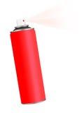 Το κόκκινο αερόλυμα ψεκασμού μπορεί πέρα από το λευκό Στοκ Φωτογραφία