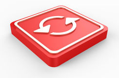Το κόκκινο αναζωογονεί το κουμπί τρισδιάστατο Στοκ Εικόνες