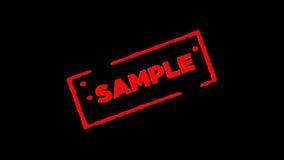 Το κόκκινο λαστιχένιο δείγμα γραμματοσήμων μελανιού υπέγραψε το ζουμ μέσα και το ζουμ έξω με τα άλφα υπόβαθρα διαφάνειας καναλιών φιλμ μικρού μήκους