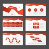 Το κόκκινο επίπεδο σχέδιο στοιχείων Infographic προτύπων παρουσίασης πολυγώνων αφηρημένο έθεσε για το μάρκετινγκ φυλλάδιων ιπτάμε Στοκ Εικόνες