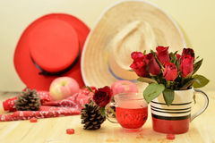 Το κόκκινο θέμα αυξήθηκε εκλεκτής ποιότητας ιδέα ντεκόρ μήλων λαμπτήρων backround Στοκ εικόνες με δικαίωμα ελεύθερης χρήσης