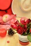 Το κόκκινο θέμα αυξήθηκε εκλεκτής ποιότητας ιδέα ντεκόρ μήλων λαμπτήρων backround Στοκ φωτογραφίες με δικαίωμα ελεύθερης χρήσης