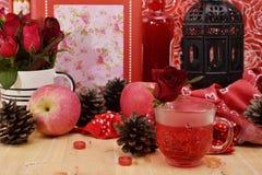Το κόκκινο θέμα αυξήθηκε εκλεκτής ποιότητας ιδέα ντεκόρ μήλων λαμπτήρων backround Στοκ Εικόνες