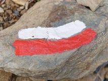 το κόκκινο και το λευκό καθοδηγούν για τις πορείες Στοκ Εικόνες