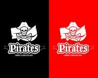 Το κόκκινο και ο Μαύρος ληστεύουν το πρότυπο κρανίων logotype, διακριτικό, λογότυπο, έμβλημα Απομονωμένη απεικόνιση πειρατών logo Στοκ Φωτογραφίες