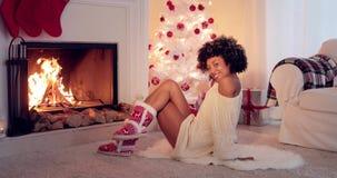 Το κόκκινο και το λευκό ο εορτασμός Χριστουγέννων απόθεμα βίντεο