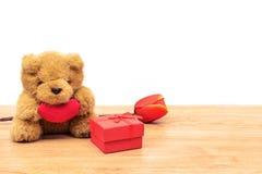 Το κόκκινο κιβώτιο δώρων με την τουλίπα και teddy αφορά τον ξύλινο πίνακα Στοκ φωτογραφία με δικαίωμα ελεύθερης χρήσης