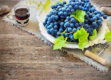 Το κόκκινο κρασί και τα σταφύλια στον τρύγο που θέτει με βουλώνουν στον ξύλινο πίνακα Στοκ εικόνα με δικαίωμα ελεύθερης χρήσης