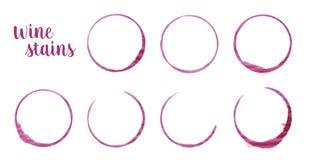 Το κόκκινο κρασί λεκιάζει τα ίχνη δαχτυλιδιών από τα γυαλιά κρασιού απεικόνιση αποθεμάτων