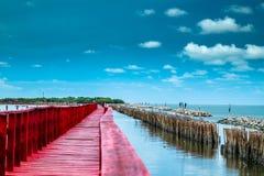 Το κόκκινο κύμα επιβράδυνσης γραμμών γεφυρών και μπαμπού αποτρέπει το παράκτιο erosio Στοκ Φωτογραφίες