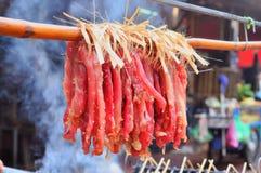 Το κόκκινο μακρύ βόειο κρέας κρεμά τοπικό Στοκ Εικόνες