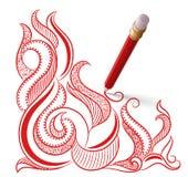 Το κόκκινο μολύβι με τη γόμα σύρει ένα σχέδιο Στοκ φωτογραφίες με δικαίωμα ελεύθερης χρήσης