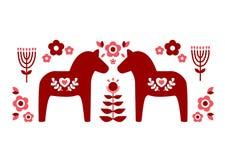 Το κόκκινο σουηδικό άλογο dala και τα κόκκινα ρόδινα σχέδια λουλουδιών επεξηγούν το διάνυσμα διανυσματική απεικόνιση