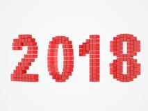 Το κόκκινο σχέδιο έτους τρισδιάστατο δίνει το 2018 Στοκ Φωτογραφία