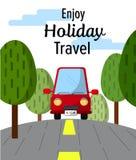 Το κόκκινο ταξίδι αυτοκινήτων απολαμβάνει τις διακοπές με την απεικόνιση κειμένων Στοκ φωτογραφία με δικαίωμα ελεύθερης χρήσης