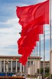 το κόκκινο τετράγωνο σημαιών του Πεκίνου Στοκ Εικόνες