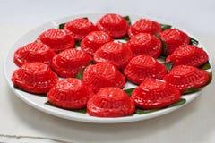 Το κόκκινο το κέικ, ç… é ¾ œç ² ¿, PeÌ  χ-Å  ε-jÄ «, ANG Ku Kueh, Kue Ku Στοκ Εικόνες