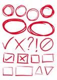 Το κόκκινο χέρι σύρει τα σημάδια στοιχείων, κιβωτίων και ελέγχου Στοκ φωτογραφία με δικαίωμα ελεύθερης χρήσης