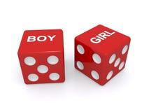 Το κόκκινο χωρίζει σε τετράγωνα με το αγόρι και το κορίτσι γραπτά Στοκ εικόνες με δικαίωμα ελεύθερης χρήσης
