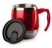 Το κόκκινο Thermocup με μια μαύρη μάνδρα απομονώνει Στοκ Εικόνα