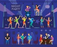 Το κόμμα λεσχών νύχτας με το σύγχρονο DJ και πηγαίνω-πηγαίνει χορευτής Απεικόνιση αποθεμάτων