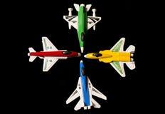 το κόμμα τεσσάρων αεροπλάνων τοποθετεί τα παιχνίδια σε σάκκο στοκ φωτογραφία με δικαίωμα ελεύθερης χρήσης